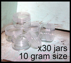 30-x-10g-CLEAR-LIP-BALM-JARS-containers-pots-brand-new-plastic-screw-top-lid