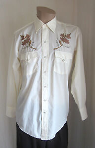 KARMAN-Vintage-Ivory-Embroidered-Western-Rodeo-Pearl-Snap-Shirt-Size-15-1-2-33