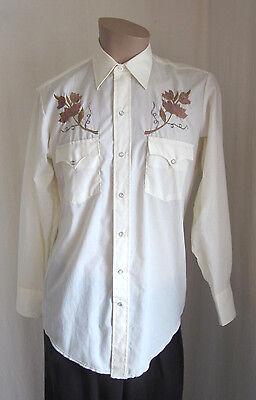 Bello Karman Vintage Avorio Ricamato Western Rodeo Perla Scatto Maglia 15 1/2 - 33 Lussuoso Nel Design