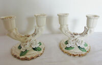 Vintage Pair of Ceramic Candle Holder Candelabra Capodimonte White Orchids Japan