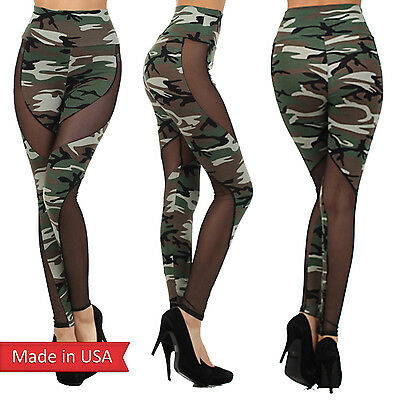 Army Green Camouflage Print Black Mesh Insert High Waist Leggings Tight Pants US