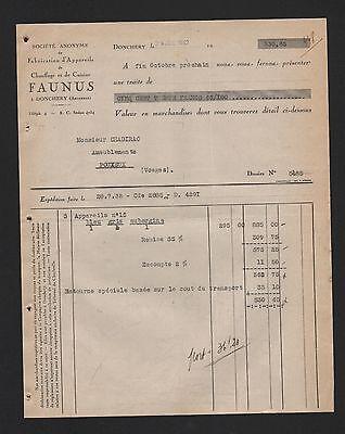 Donchery Rechnung 1932 Fabrication D'appareils De Chauffage Et De Cuisine Faunus Verpackung Der Nominierten Marke