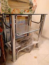 Carrello mobile porta tv pc cucina con ruote ripiano ALLUMINIO GRIGIO Consolle