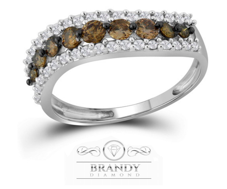 Brandy Diamond® Chocolate Brown 10K White gold Luxury Eternity Ring .79Ct