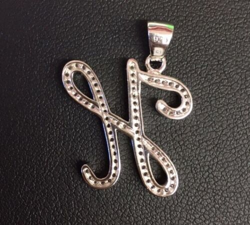 """NEW! 925 Sterling Silver CZ Letter Initial /""""H/"""" Pendant Necklace"""