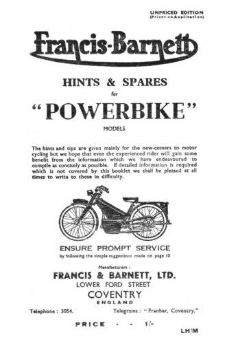 1946-1948 Francis Barnett Powerbike hints /& parts book 0569