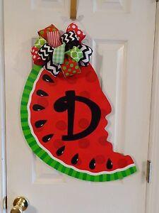 Hand painted Wood Summer Door Hanger Polka Dot Watermelon