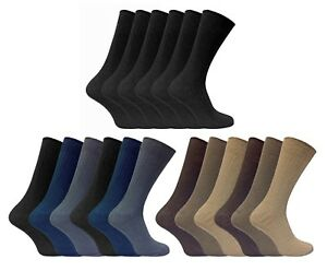 6-Pack-Mens-Thin-Soft-100-Cotton-Black-or-Brown-Ribbed-Crew-Dress-Socks-7-12-US