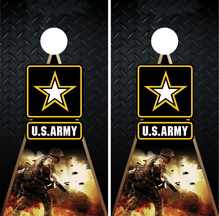 US Army Soldier Military Diamond Plate Cornhole Board Decal Wrap Wraps