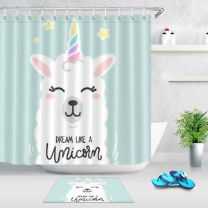 Details About Waterproof Fabric Shower Curtain Llama Unicorn Stars Bathroom Decor 12 Hooks
