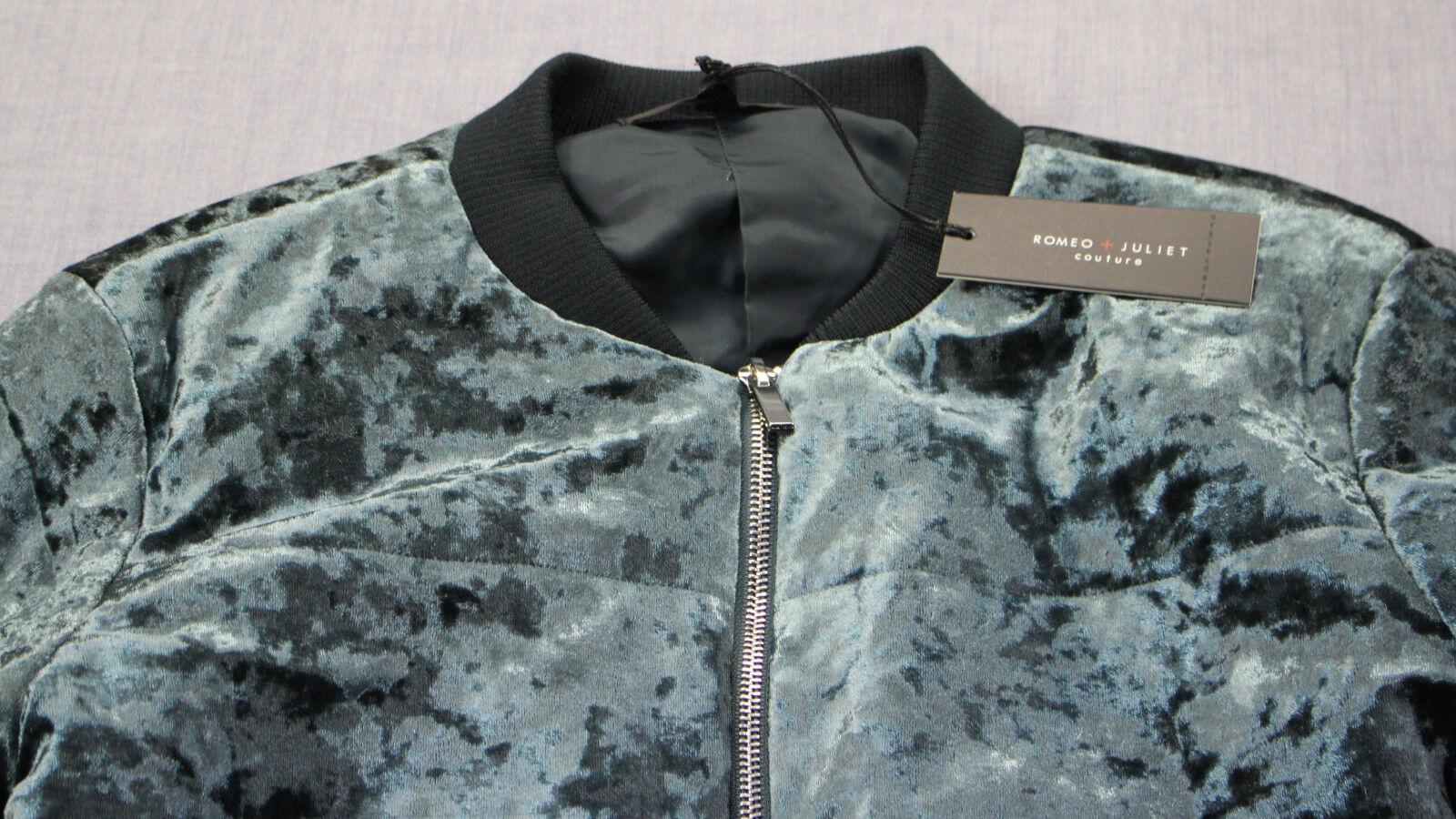 eab96e039 ROMEO & Juliet Couture Womens Emerald Green Velvet Bomber Jacket S
