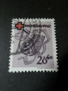 FRANCE-1949-OCCUPATION-ALLEMAGNE-RHENO-PALATIN-timbre-42-CROIX-ROUGE-oblitere