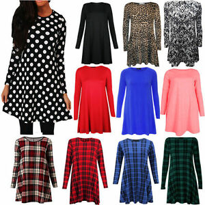 New-Women-Ladies-Red-Tartan-Print-Long-Sleeve-Swing-Skater-Dress-Plus-Size-8-26