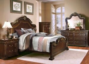 Details about Valentine Antique Style 4pc Queen Bedroom Set In Dark Brown &  Gold Finish