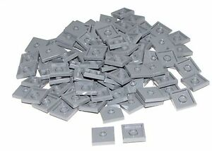 Lego-Lot-of-100-New-Dark-Bluish-Gray-Plates-Modified-2-x-2-Groove-1-Stud-Jumpers