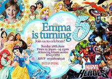 Invitaciones Personalizadas Cumpleaños Disney Princess+superhéroe 8 tarjetas