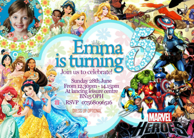 Personalised Birthday Party Invitations Disney Princess Super Hero X8 Cards