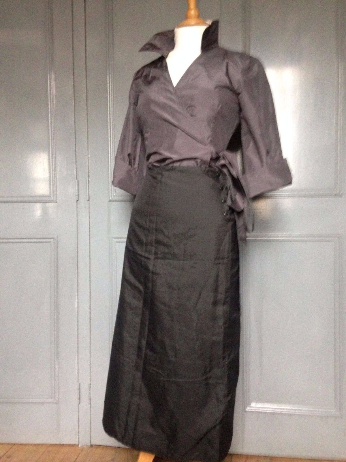 gris Silk Wrap chemisier Par Hobbs UK 8 Nwts