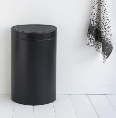 brabantia Mülleimer Touch bin 40L Schwarz matt Abfallsammler Mülltonne Mistkübel