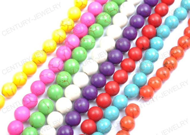 Wholesale 6/8/10/12/14MM Round Turquoise Gemstone Spacer Loose Charms Beads