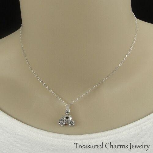 Cinderella Carriage Pendant 925 Sterling Silver Pumpkin Coach Charm Necklace