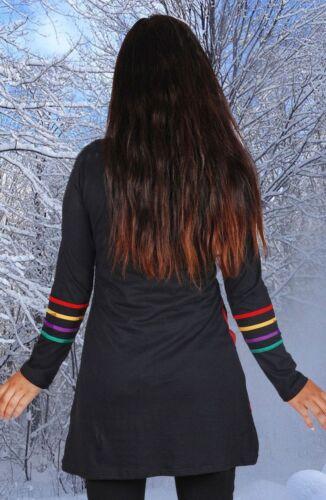 Kleid Tunika Longshirt Ethno Nepal Rainbow Regenbogen Pixie 36 38 40 42 44 46 48