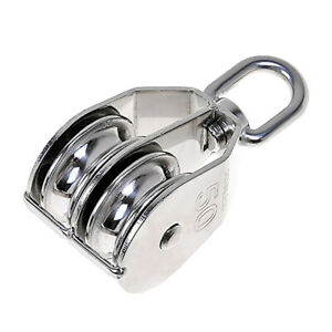Single Dual Pulley Rope Pully Lifting Wheel Swivel Block M15-M50 Stainless Steel