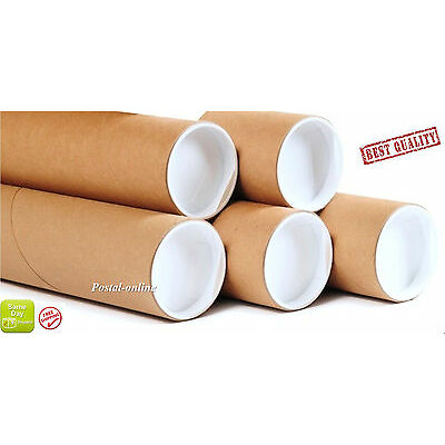"""50 x  A2 450mm (18"""") 76mm 3"""" Cardboard Postal Tubes Packing Tubes  with caps"""