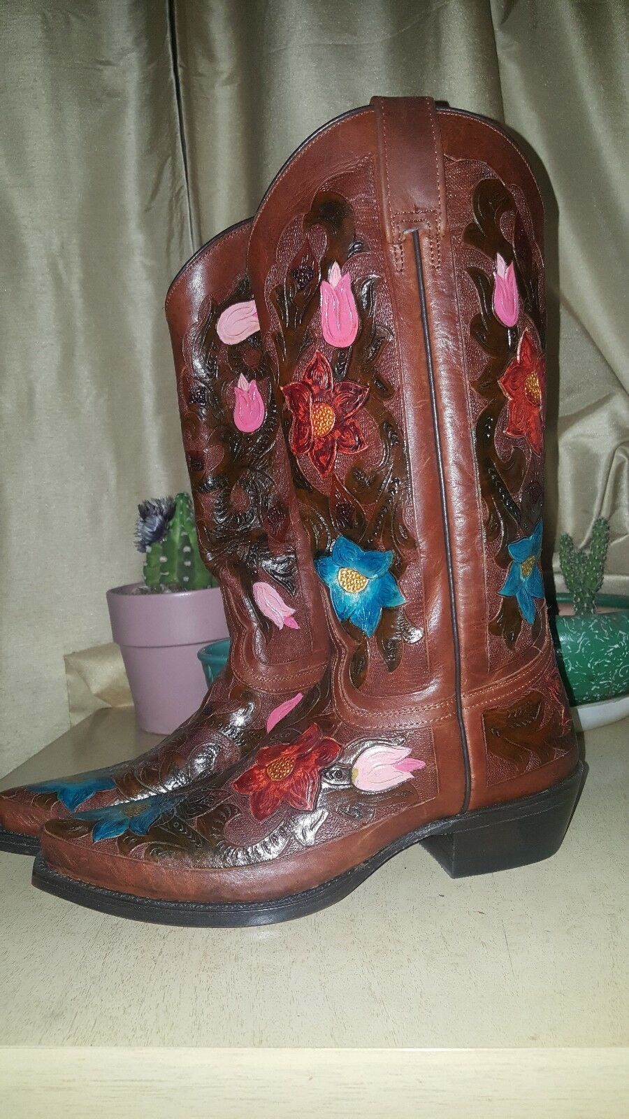 JACA  WESTERN Stiefel Stiefel WESTERN HAND-TOOLED Hand painted FLOWERS WO Herren size 7 f0430d