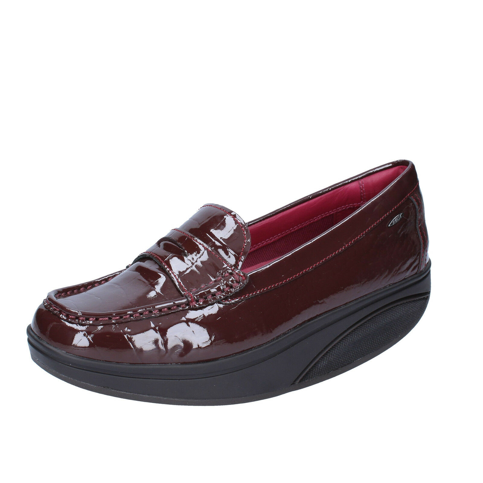 mujer zapatos MBT 5 (EU 38) loafers burgundy patent leather dynamic BZ917-C