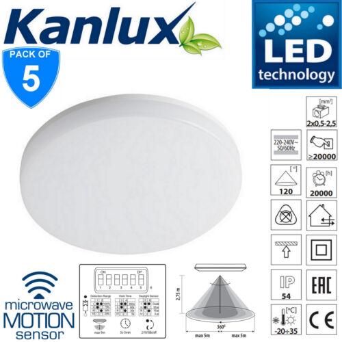 5x 18 W 2D Lumière DEL IP54 intérieur//extérieur Cloison micro-ondes Externe Capteur PIR de