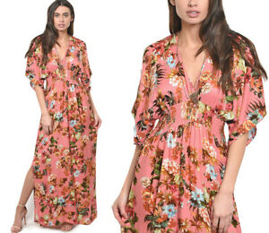 Women-039-s-Floral-Print-Kimono-Long-Maxi-Dress-Pink-3-4-Sleeve-Smocked-Waist-V-Neck