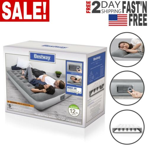 """12/"""" Air Mattress with Built in AC Pump Flocked Airbed Camping Full Size"""