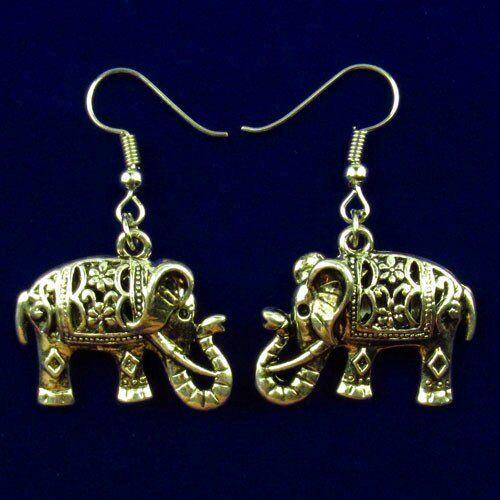 Une paire sculpté Tibetan Silver elepahant 70x20x6mm Boucles d/'oreilles X03210