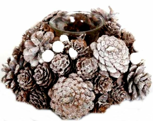 Christmas Pine Cone Holly Berry Candle Holder Glitter Decor Wreath Table Festive