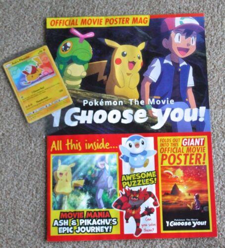 Pokémon-Je Choisir Vous Film Mag /& Exclusive ASH/'s Pikachu Carte