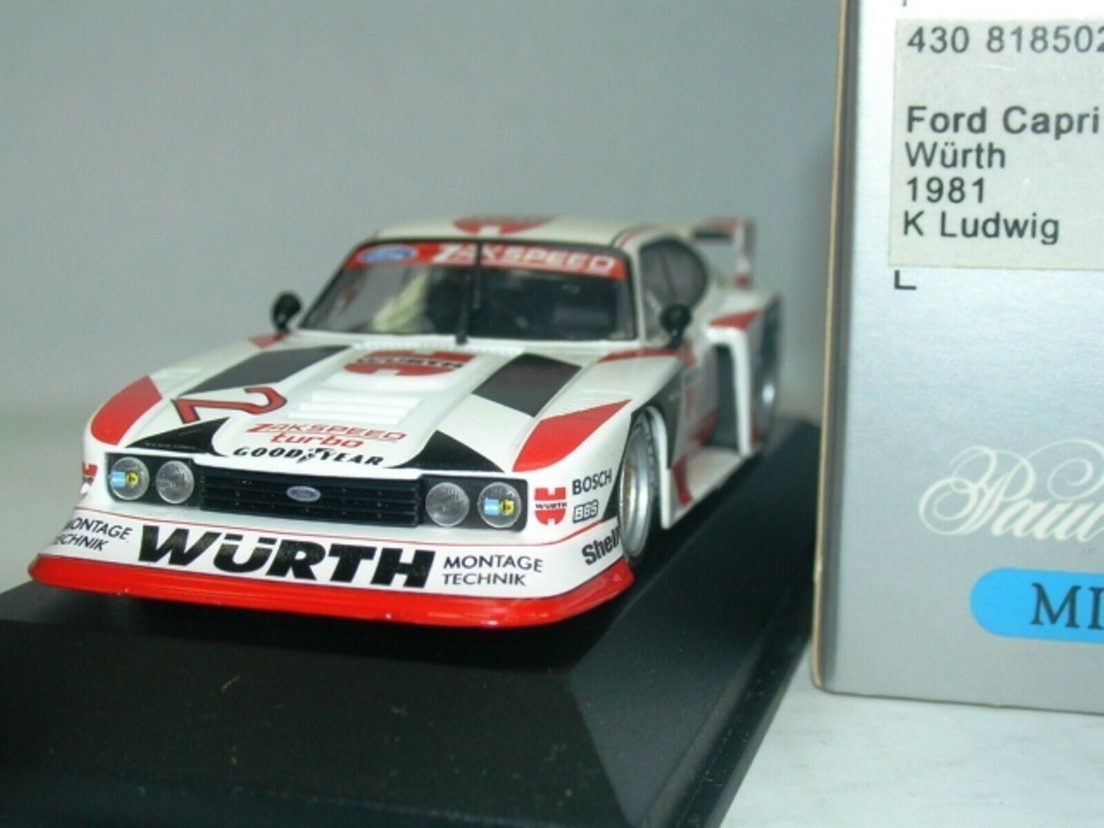 WOW EXTREMELY RARE Ford Capri MkIII Gr5 1981 DRM Wurth Ludwig 1 43 Minichamps