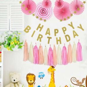 Joyeux-anniversaire-banniere-papier-pompon-ball-party-table-pendaison-decoration