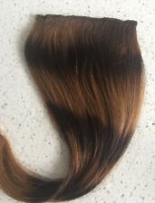 "12"" Clip in Human Hair Extensions Straight streaks #2/30 4"" Wide"