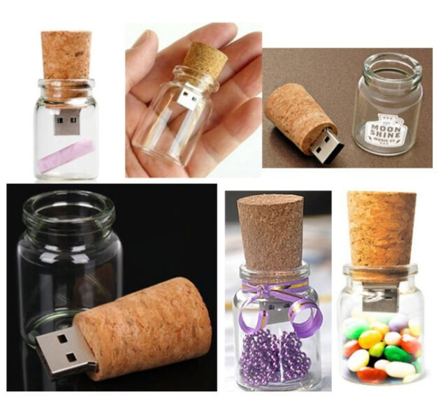 Fashion Wishing Bottle  Flash Pen Drive Drift bottle 8GB USB 2.0 Memory Stick