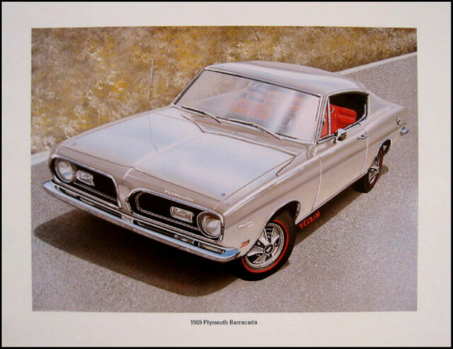 1969 Plymouth Barracuda Original Art Print Lithograph
