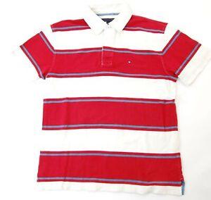 Tommy-Hilfiger-Poloshirt-Polohemd-Herren-Gr-M-rot-gestreift-Pique-S1020