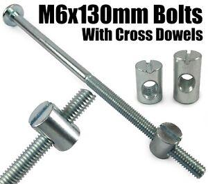 M8 Joint Fixing Furniture Connector Bolts /& Cross Dowel Barrel Nuts Unit Bed Cot