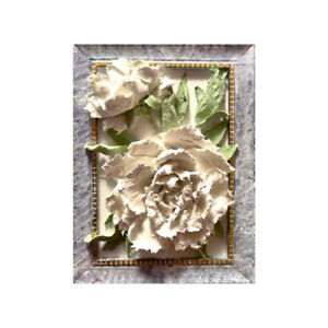 Details about White Peonies Framed Sculptural painting Floral still life  6X8 inches