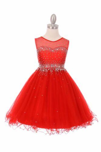 New Red Sparkling Satin Girls Dress Graduation Wedding Christmas Holidays 5029