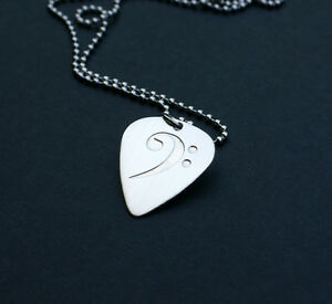 Etched sterling silver bass clef guitar pick necklace ebay image is loading etched sterling silver bass clef guitar pick necklace aloadofball Images