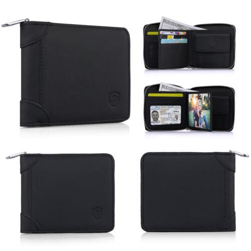 Women Men/'s REAL Leather Zip Around Wallet ID Card Window Secure Zipper Bifold