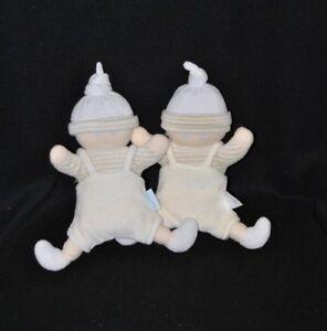 Lot-2-peluche-doudou-lutin-poupon-COROLLE-blanc-beige-raye-bonnet-grelot-19-cm
