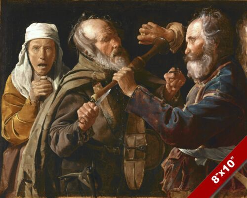 OLD MEN MUSICIANS FIGHTING BRAWL ART DAILY LIFE PAINTING REAL CANVAS PRINT
