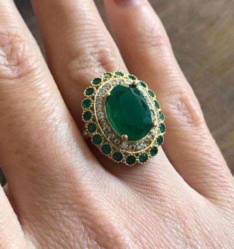 Argent sterling 925 fait main authentique turc Emerald Femmes bague taille 7-9